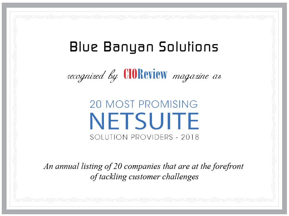 CIOReview Award 2018: 20 Most Promising NetSuite Solution Providers.