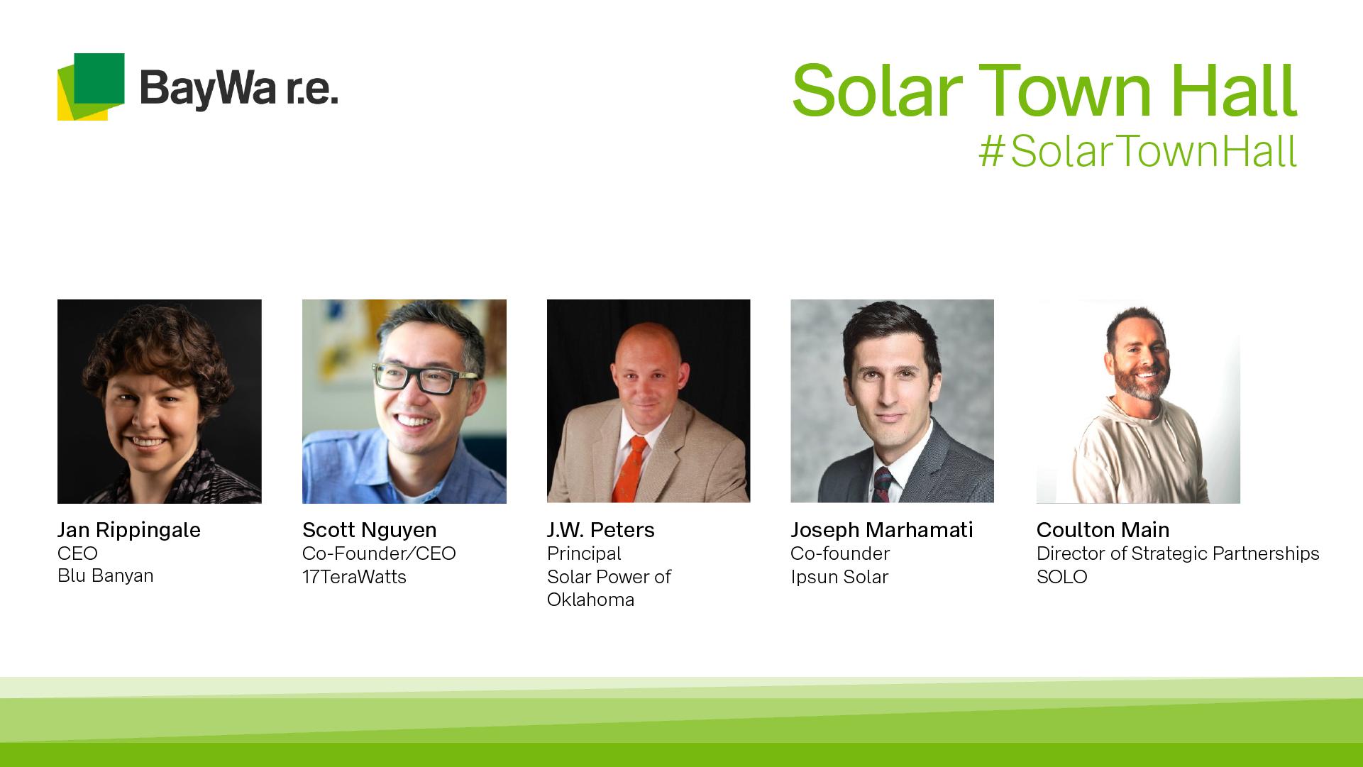 BayWa r.e. Solar Town Hall Meeting. Panelists from Blu Banyan, 17TeraWatts, Solar Power of Oklahoma, Ipsun Solar, and SOLO