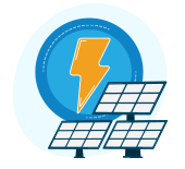 Illustration: Lightning bolt providing power to a solar array.