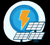 Illustration: Lightning bolt providing power to a solar array.