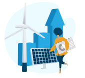 Illustration: Woman holding charts, walking past solar panel and wind turbine.