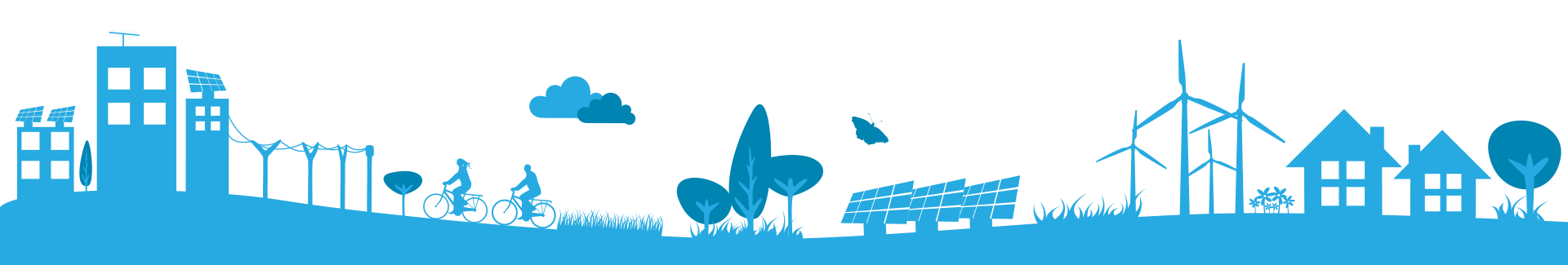 Illustration: Community with energy efficient buildings, solar panel array, wind turbines, trees, flowers, and people riding bicycles.