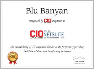 CIOapplications Award of Top 10 NetSuite Solution Providers 2019